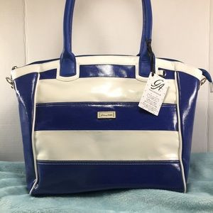 💗 GRACE ADELE NWT Blue & Cream Striped Bag